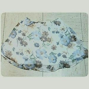 Junior's Floral Pastel Mini-Skirt Cream Size Med